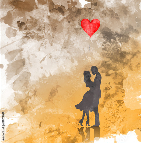 Αφίσα Romantic silhouette of loving couple