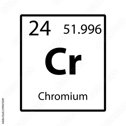 Fotografía  Chromium periodic table element icon on white background vector