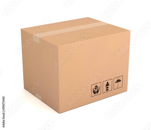 Leinwand Poster blank cardboard box 3d illustration