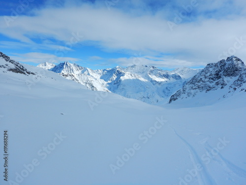 Fototapety, obrazy: skitouring in beautiful snowy alps