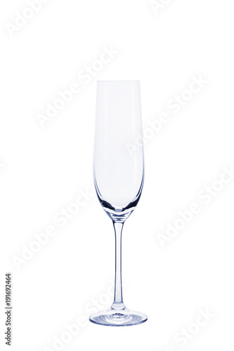 Empty transparent glass for champagne isolated on white background.
