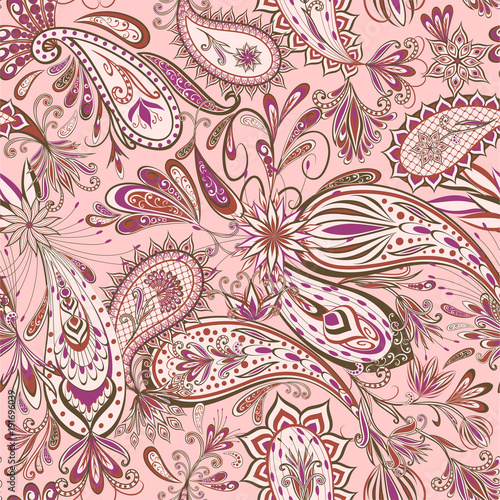 La pose en embrasure Style Boho Abstract vintage pattern with decorative flowers, leaves and Paisley pattern in Oriental style.