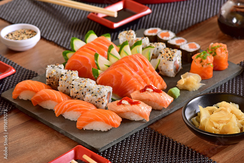 Poster Sushi bar Japanese food table