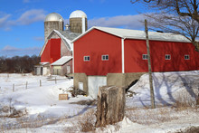 Red Barn In Winter With 2 Silos