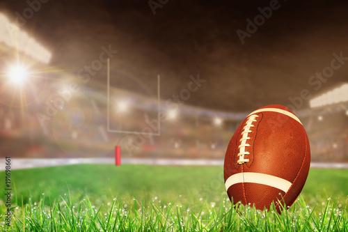 Slika na platnu Outdoor Football Stadium With Ball on Grass and Copy Space
