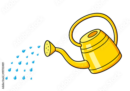 Obraz Yellow watering can and water drops isolated. - fototapety do salonu