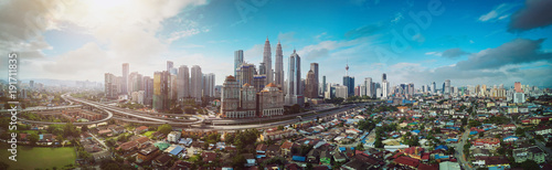 Recess Fitting Kuala Lumpur Panorama cityscape view in the middle of Kuala Lumpur city center , early morning with little mist , Malaysia .