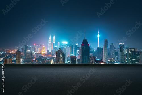 Canvas Prints Kuala Lumpur Asphalt road side with beautiful Kuala Lumpur city skyline. Night scene .