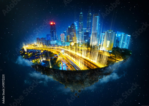 Canvastavla  Fantasy island floating in the air with modern city skyline and network light came out from the ground ,modern city with wireless network connection concept