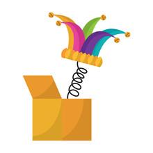 Joke Box And Jester Hat Bells Comedy Vector Illustration