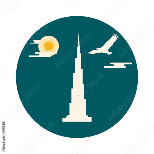 Photo  United Arab Emirates skyscraper silhouette
