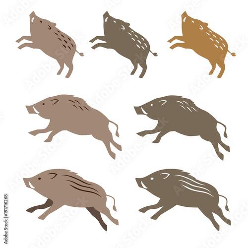 Tela  猪のイラスト 年賀状素材 干支動物