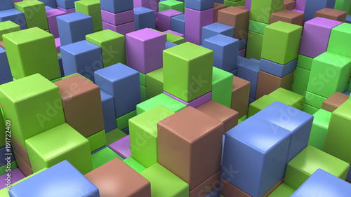 Wall of blue, green, brown and purple cubes