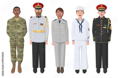 Fotografia Five American Soldiers in Uniform