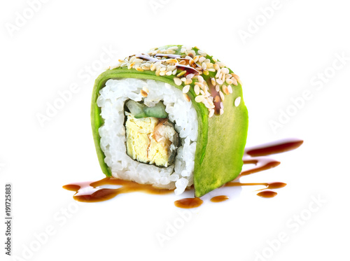 Poster Sushi bar Sushi roll over white background. Sushi roll with eel, tofu, vegetables and avocado closeup. Japanese food