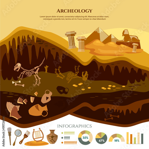 Archaeological excavation infographic Canvas Print
