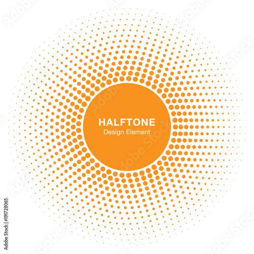Obraz Sunny Circle Halftone Logo Design Element. Sun vector icon. Sun halftone emblem for health, treatment, medical, cosmetic, pharm. Honey sun logo vector illustration - fototapety do salonu