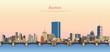 vector abstract illustration of Boston city skyline at sunrise