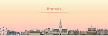 Vector Abstract Illustration Of Brussels City Skyline At Sunrise