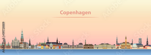 abstract vector illustration of Copenhagen city skyline at sunrise Wallpaper Mural