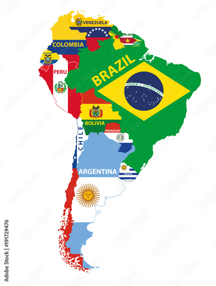 South America map mixed with countries flags. Vector illustration ...