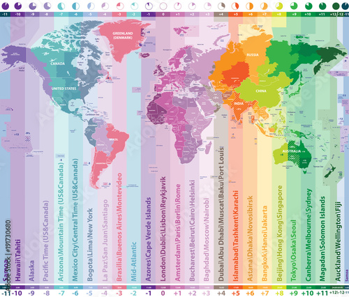 world time zones vector map with countries names and borders