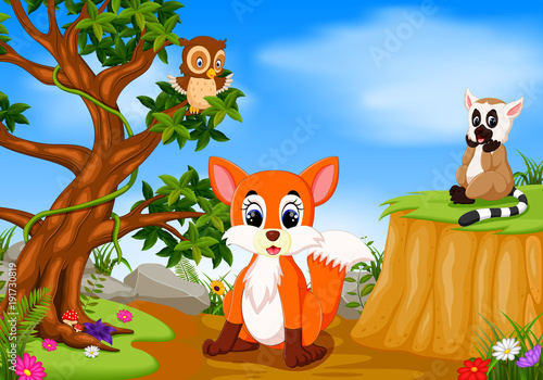 fox, owl and lemur with mountain cliff scene