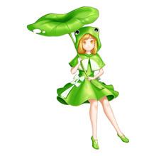 Frog Girl With Anime And Carto...