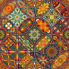 FototapetaSeamless pattern with decorative mandalas. Vintage mandala elements. Colorful patchwork.