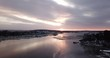 Aerial footage of Frognerkilen Marina and Aker Brygge at sunrise in Oslo, Norway