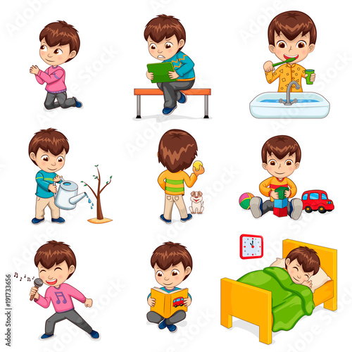 Fotomural Boy Does Daily Routine Actions Illustrations Set