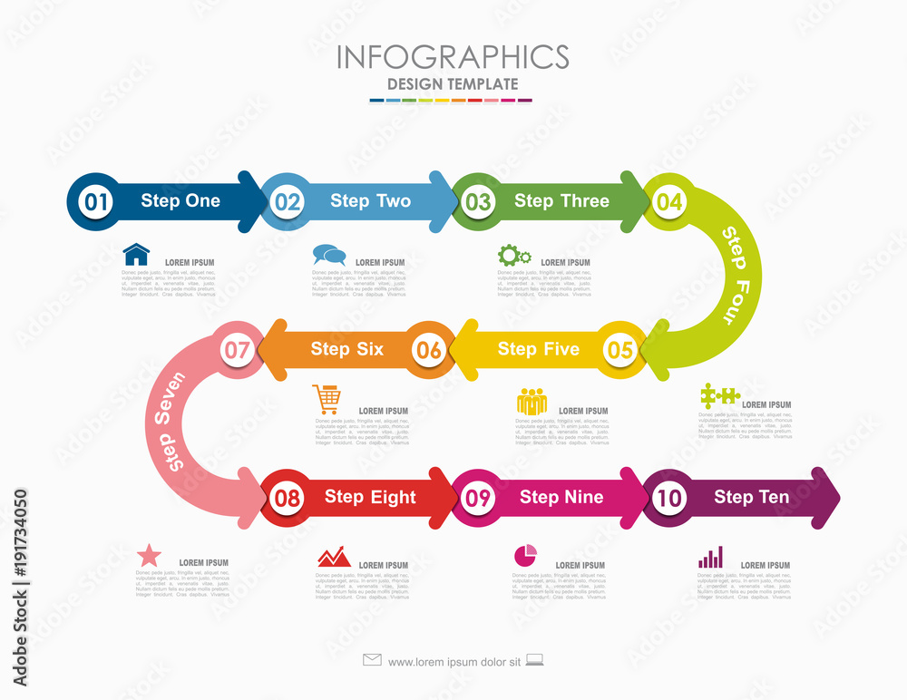 Fototapeta Infographic template. Vector illustration. Used for workflow layout, diagram, business step options, banner, web design.