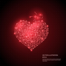 Digitally Drawn Heart Low Poly Wireframe Isolated On Black Background.