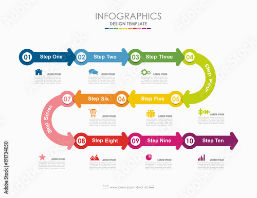 Infographic template. Vector illustration. Used for workflow layout, diagram, business step options, banner, web design. Fototapete