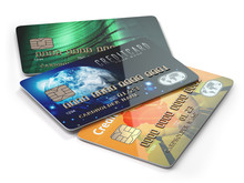 Three Colored Credit Cards Iso...