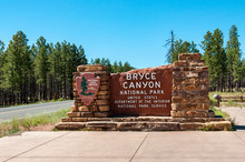 Welcome Sign At The Entrance To Bryce Canyon National Park, Utah