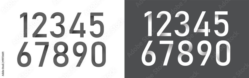 Fototapeta Numbers origami alphabet letters font black and white color collection. font designs for logo, Poster, Invitation, etc. Typography font origami style, Regular. vector illustrator
