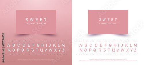 sweet alphabet uppercase font. Typography classic style pink color font collection set for logo, Name card, Poster, Invitation. vector illustrator