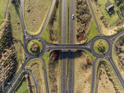 Billede på lærred Aerial birds eye view of the M7 motorway in Ireland