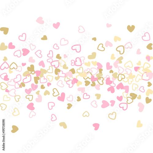 rose gold valentine s day scatter of doodle hearts banner or card