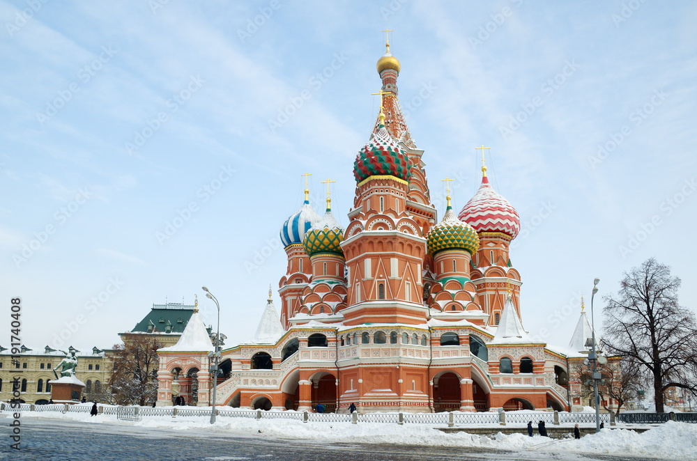 Fototapety, obrazy: Cathedral of the Intercession of the blessed virgin Mary that on the Moat (St. Basil's Cathedral) on Red square in Moscow, Russia