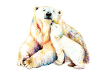 Watercolor Bear With A Baby