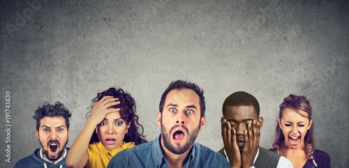 Women and men expressing anger, desperation, shock Canvas Print