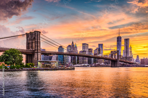 In de dag Brooklyn Bridge New York City Skyline