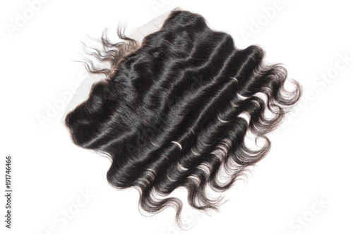 Fotografie, Obraz  Body wavy black human hair extensions lace frontal