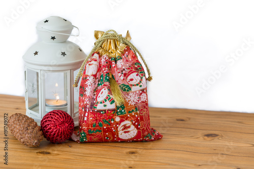 Red gift bag with white lantern for christmas Poster