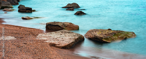 Fotobehang Lichtblauw Cold sea, long exposure