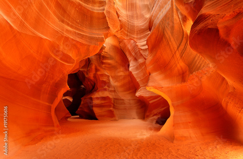 Deurstickers Rood Upper Antelope Slot Canyon Showing the Light Beam Into the Canyon, Page, Arizona, USA.