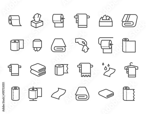Simple Set of Towels and Napkins Related Vector Line Icons Obraz na płótnie