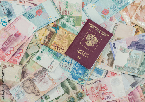 russian passport on Asia money background   Currency of Hong